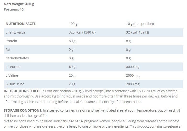 BCAA KFD Nutrition Facts