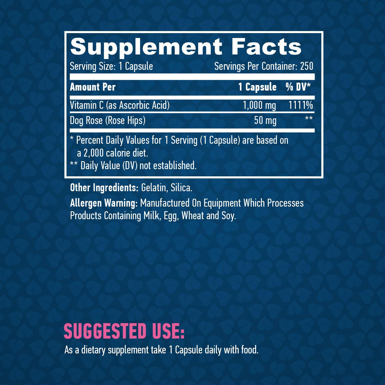 High Potency Vitamin C 1000mg Rose Hips 250 caps Ingredients Haya Labs